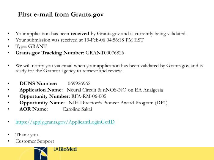 First e-mail from Grants.gov