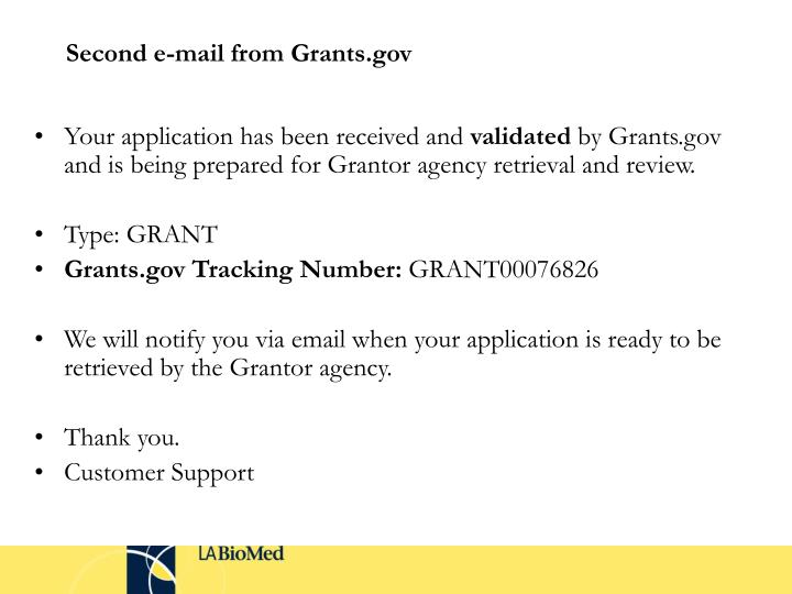Second e-mail from Grants.gov