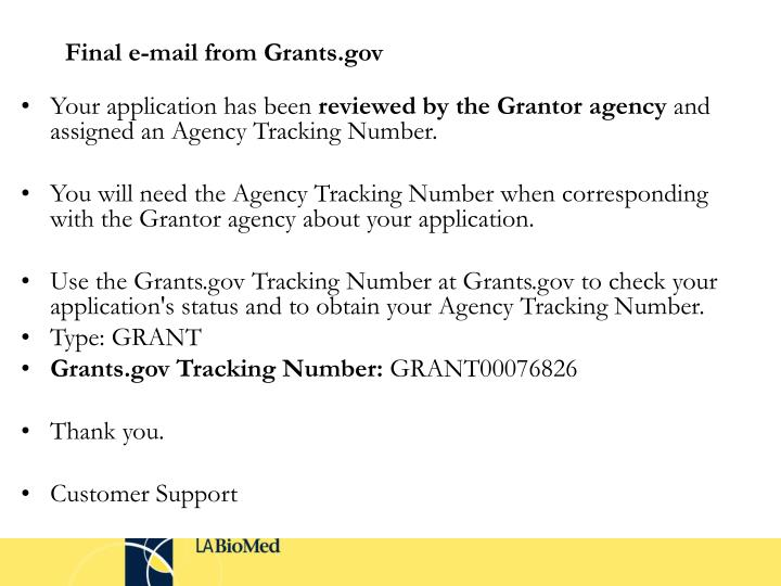 Final e-mail from Grants.gov