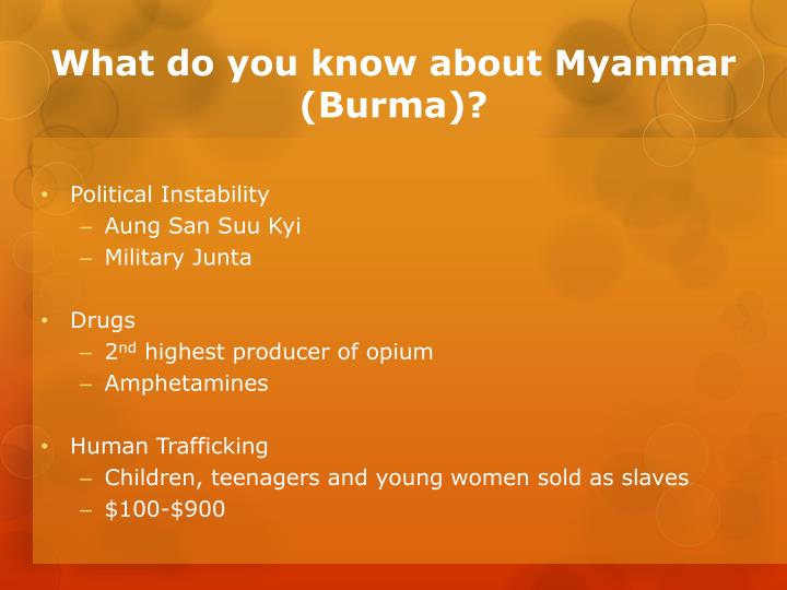 What do you know about Myanmar (Burma)?
