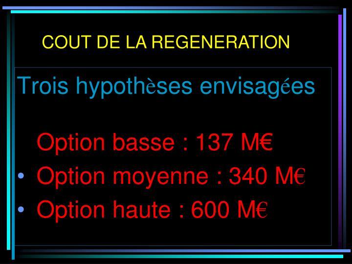 COUT DE LA REGENERATION