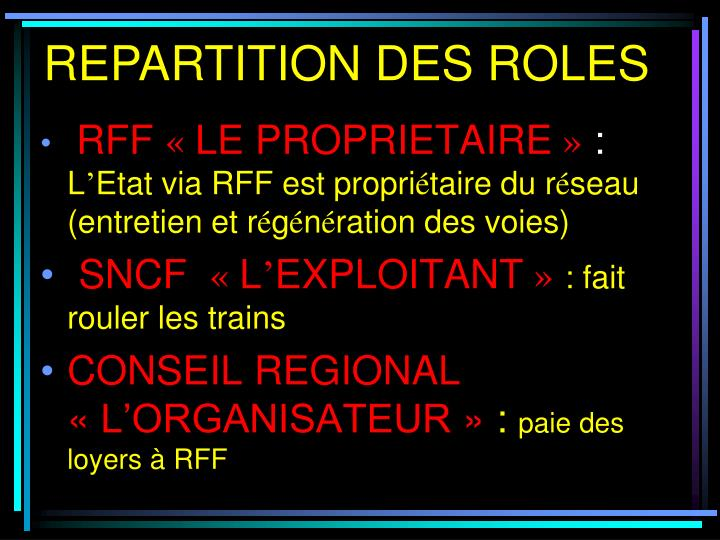 REPARTITION DES ROLES