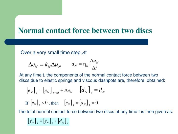 Normal contact force between two discs