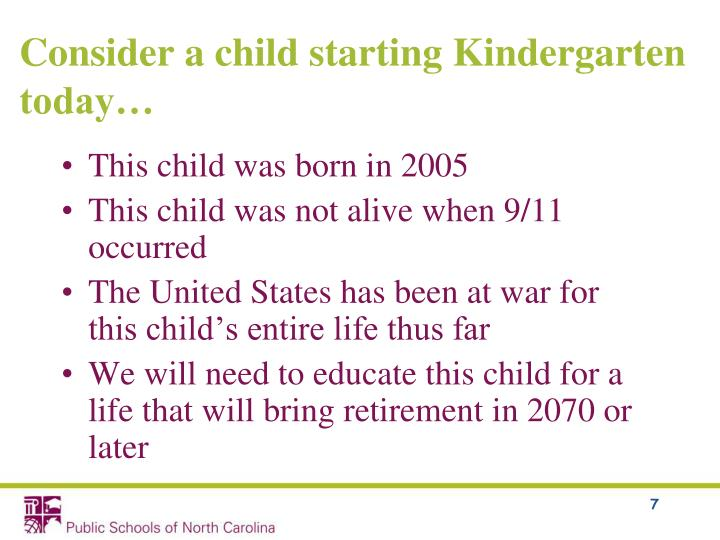 Consider a child starting Kindergarten today…
