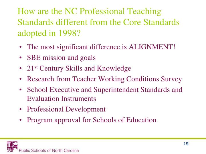 How are the NC Professional Teaching Standards different from the Core Standards adopted in 1998?
