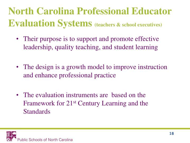 North Carolina Professional Educator Evaluation Systems