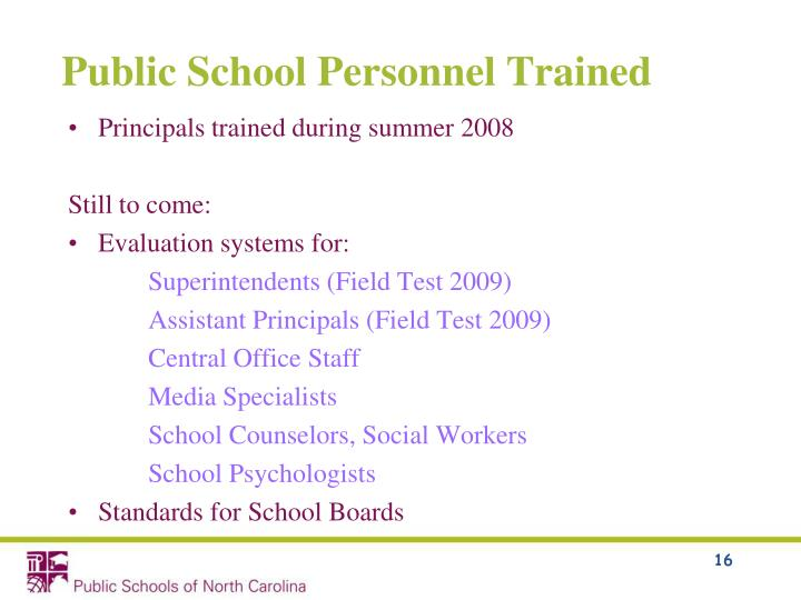 Public School Personnel Trained