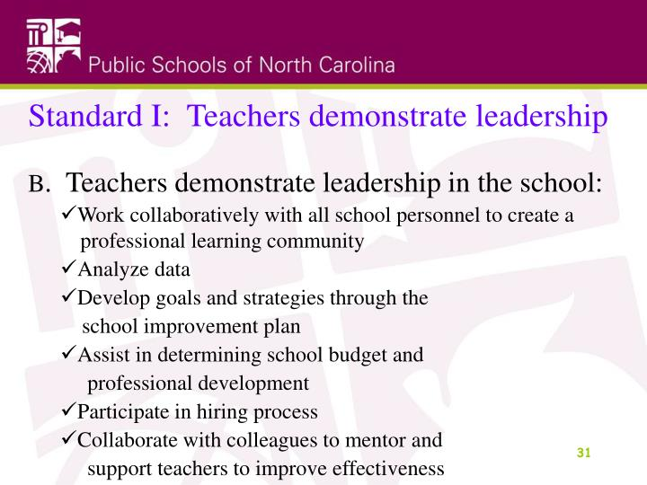 Standard I:  Teachers demonstrate leadership
