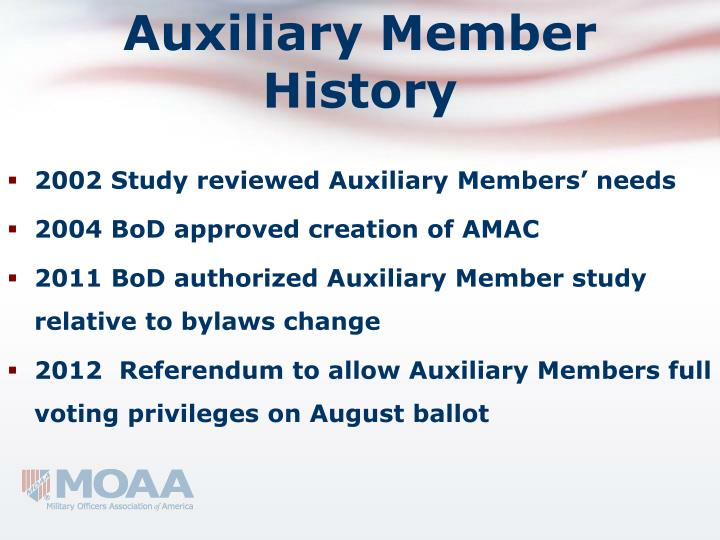 Auxiliary member history