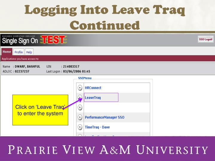 Logging Into Leave Traq Continued