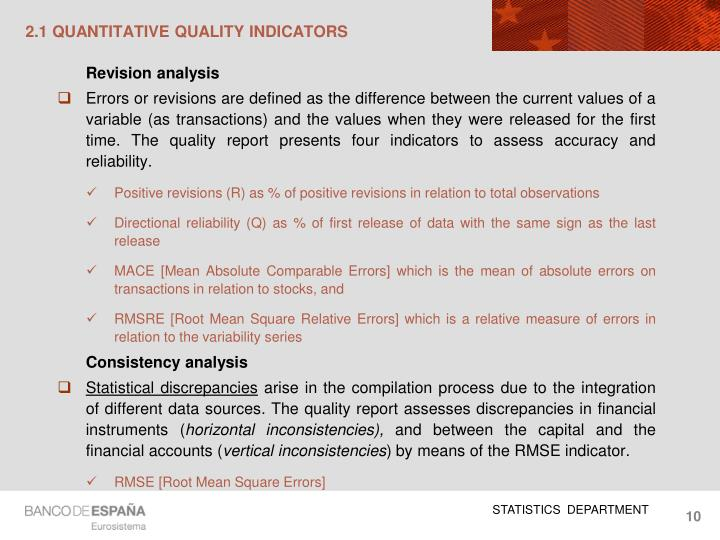 2.1 QUANTITATIVE QUALITY INDICATORS