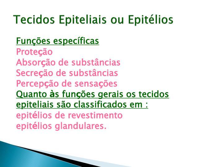 Tecidos Epiteliais ou Epitélios