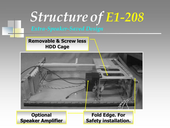 Structure of e1 208 extra speaker saved design