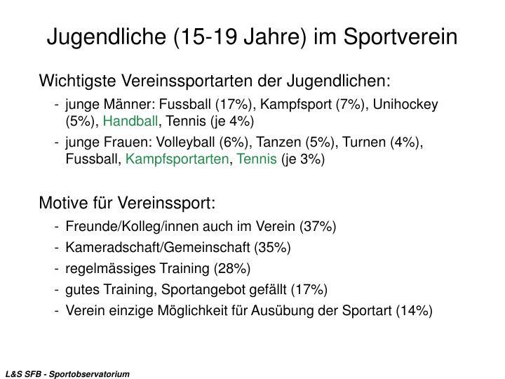 Jugendliche (15-19 Jahre) im Sportverein