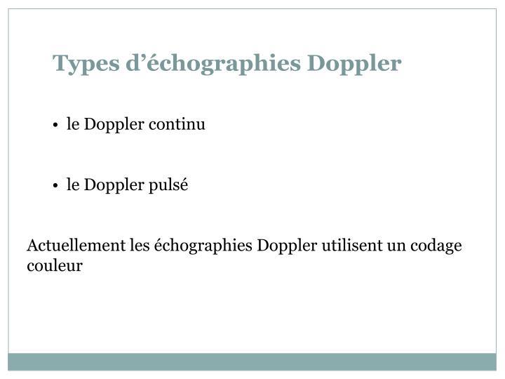 Types d'échographies Doppler