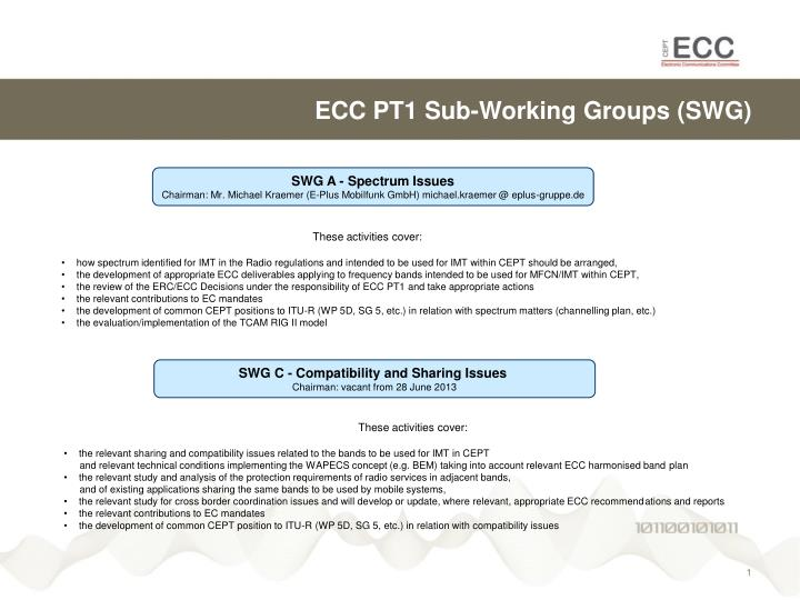 Ecc pt1 sub w orking groups swg1