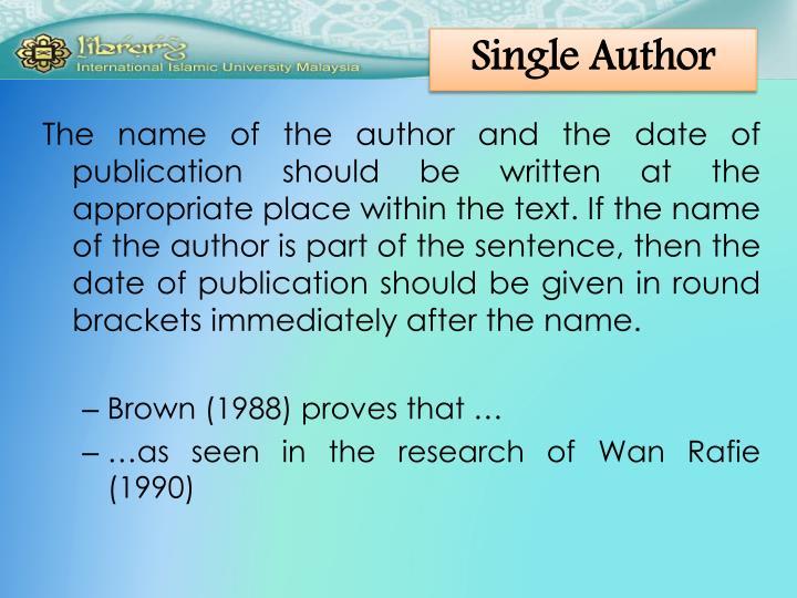 Single Author
