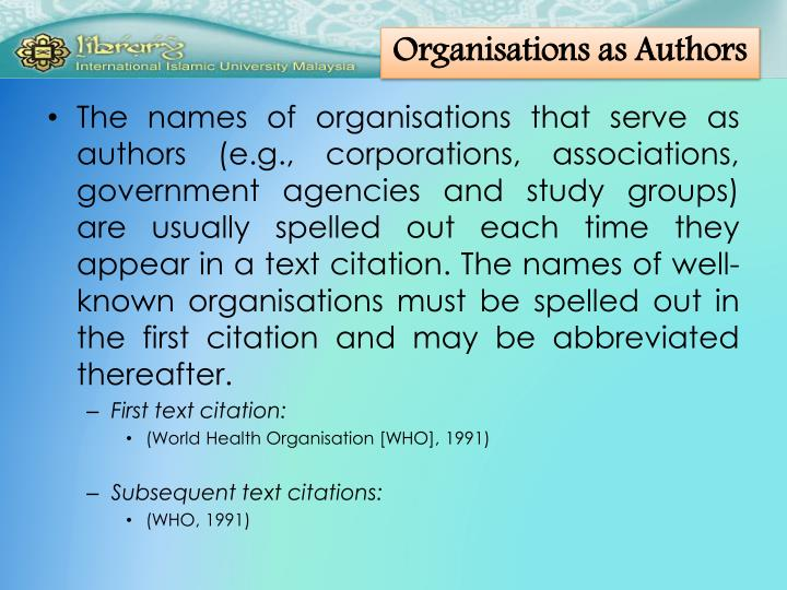 Organisations as Authors