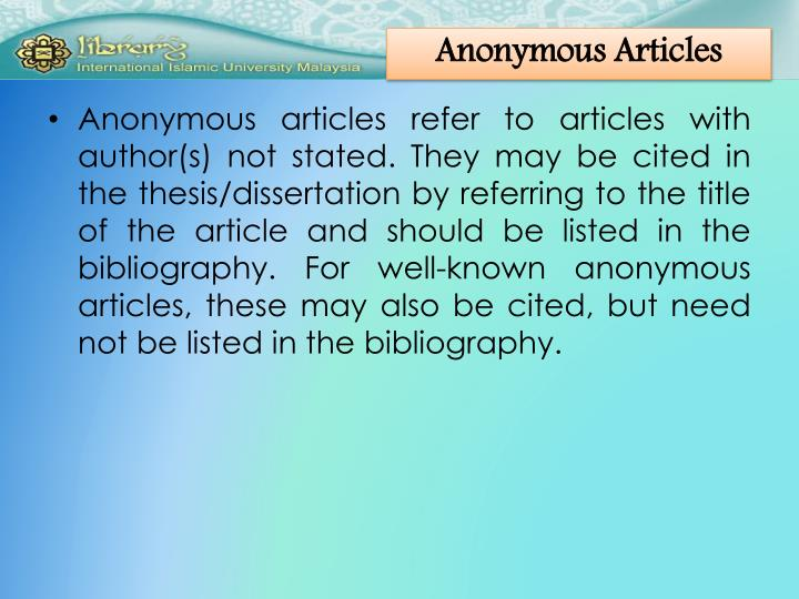 Anonymous Articles