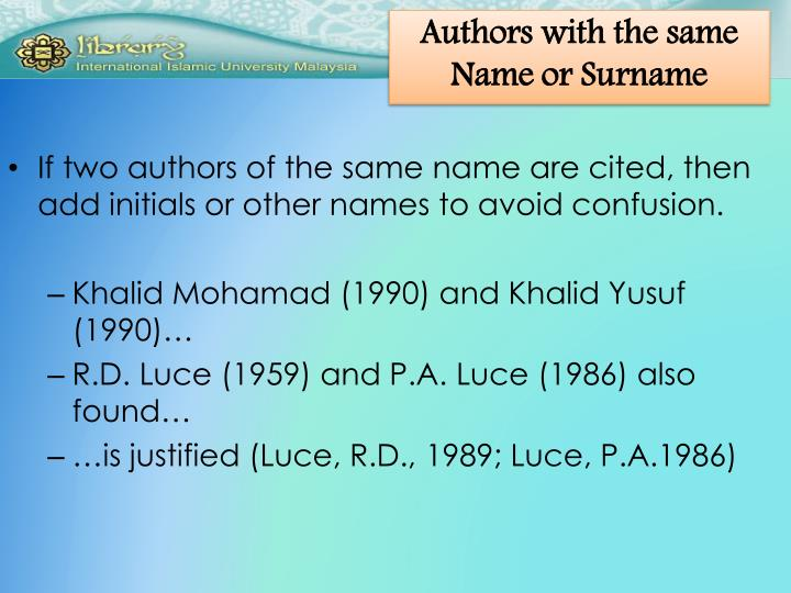 Authors with the same Name or Surname
