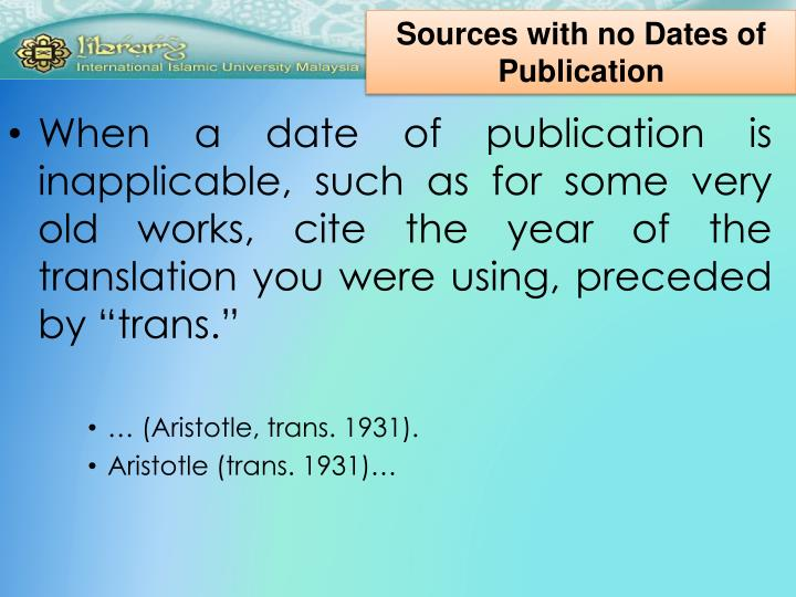 Sources with no Dates of Publication