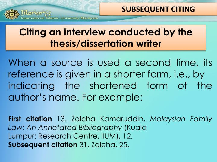 SUBSEQUENT CITING