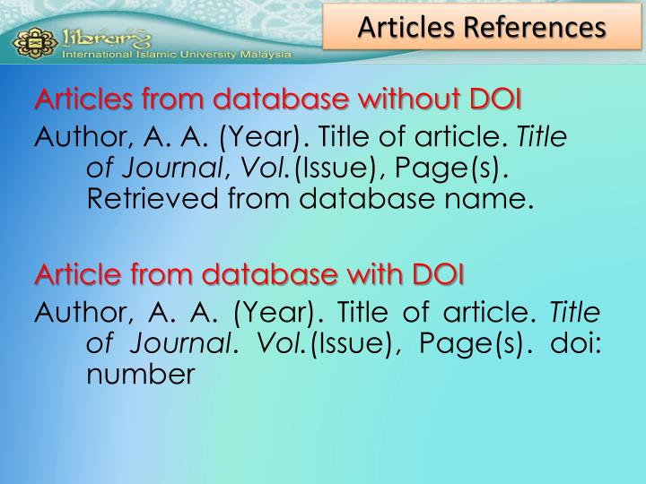 Articles References