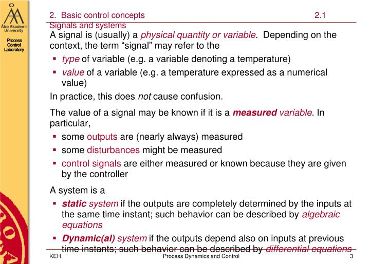 2 basic control concepts 2 1 signals and systems