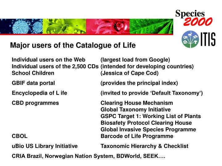 Major users of the Catalogue of Life