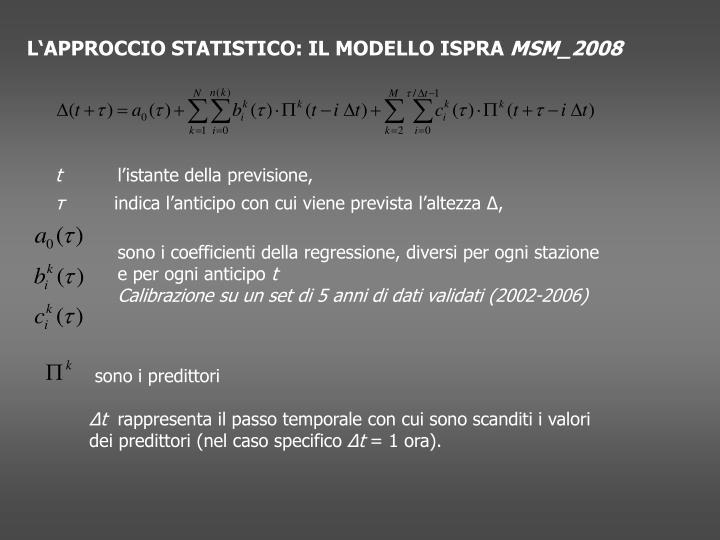 L'APPROCCIO STATISTICO: IL MODELLO ISPRA