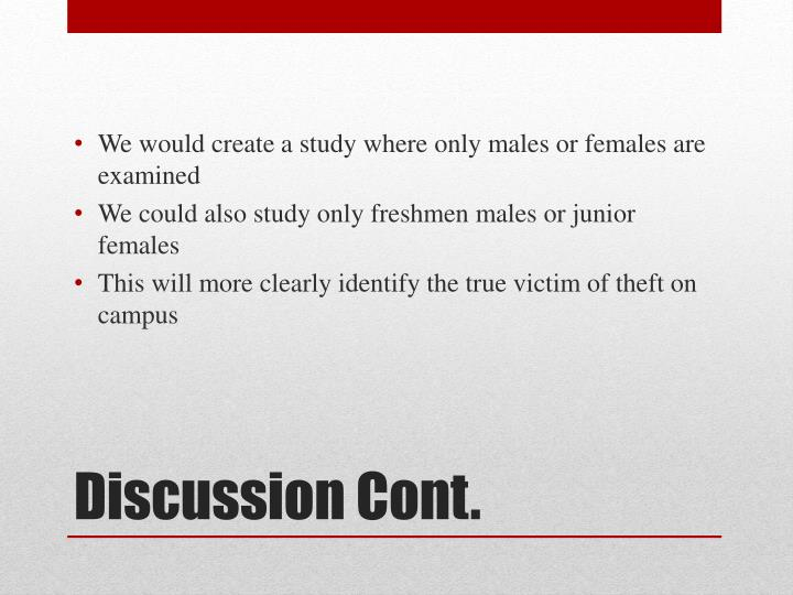 We would create a study where only males or females are examined
