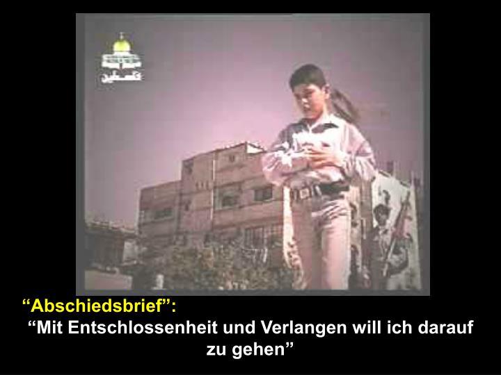 """""""Abschiedsbrief"""":"""