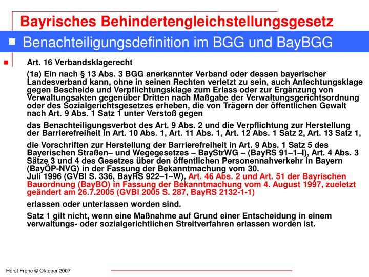Benachteiligungsdefinition im BGG und BayBGG