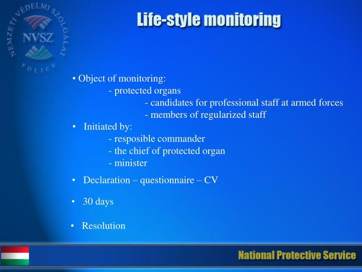 Object of monitoring: