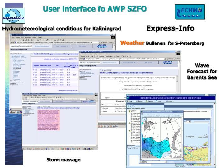 User interface fo AWP SZFO