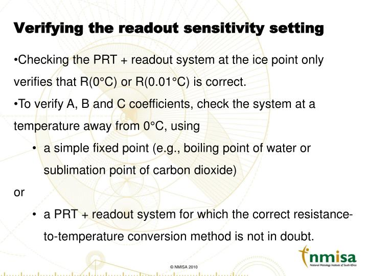 Verifying the readout sensitivity setting