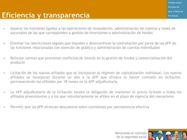 Eficiencia y transparencia