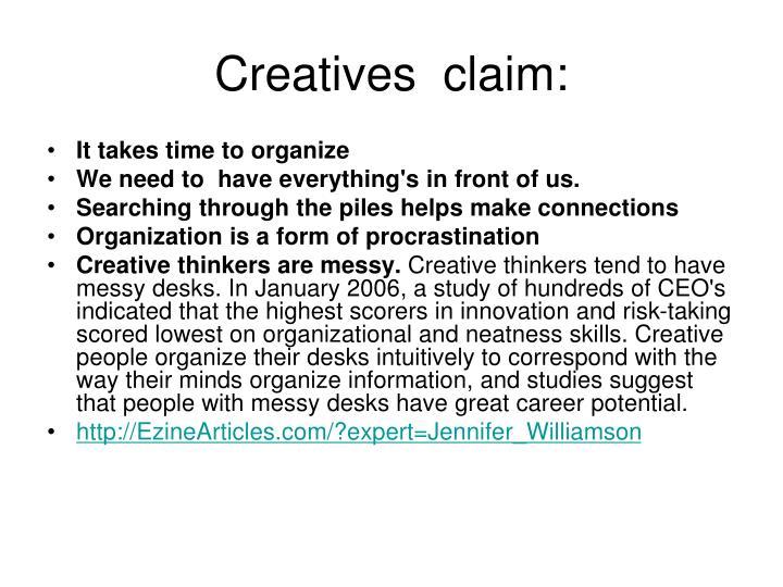 Creatives  claim: