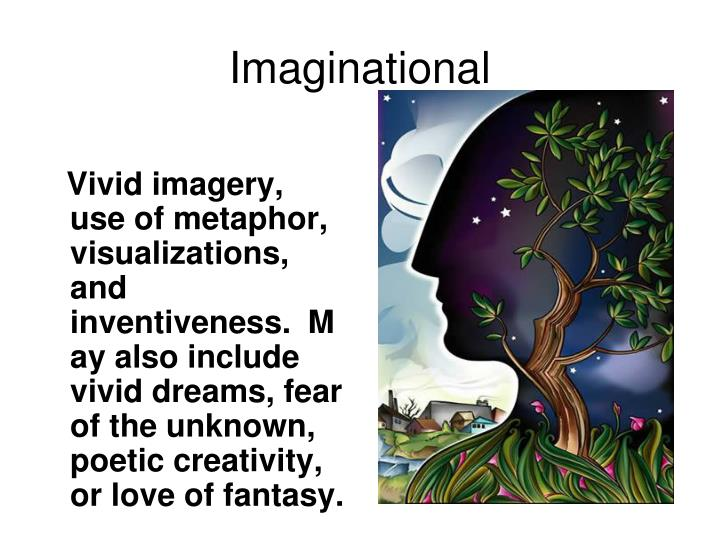 Vivid imagery, use of metaphor, visualizations, and inventiveness.  May also include vivid dreams, fear of the unknown, poetic creativity, or love of fantasy.