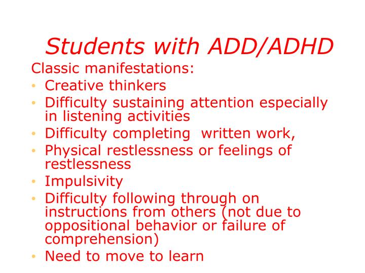 Students with ADD/ADHD