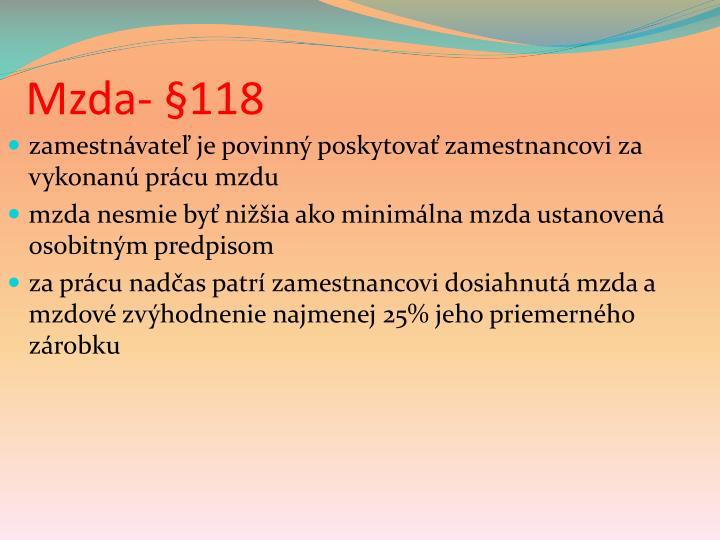 Mzda- §118
