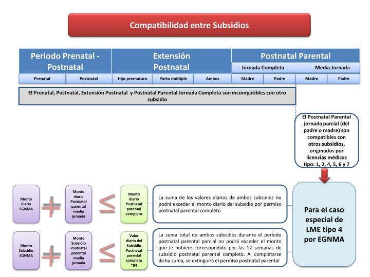 Compatibilidad entre Subsidios