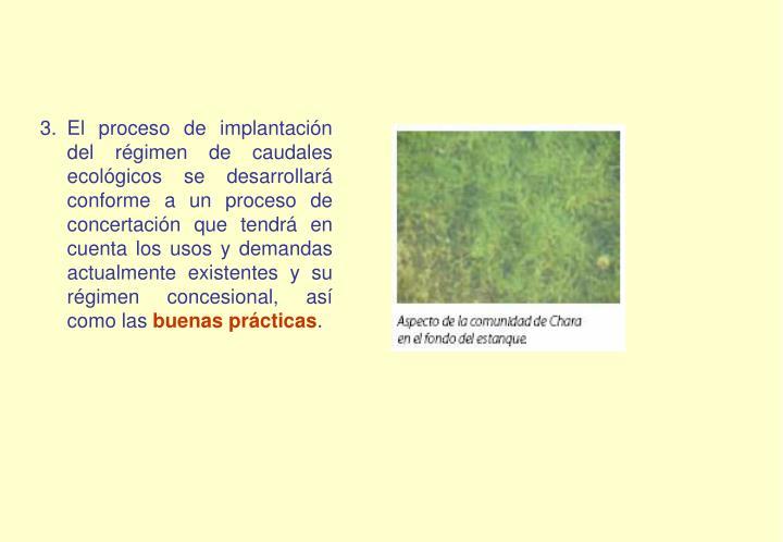 El proceso de implantación del régimen de caudales ecológicos se desarrollará conforme a un proceso de concertación que tendrá en cuenta los usos y demandas actualmente existentes y su régimen concesional, así como las