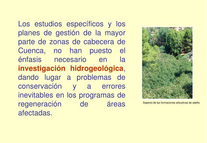 Los estudios específicos y los planes de gestión de la mayor parte de zonas de cabecera de Cuenca, no han puesto el énfasis necesario en la