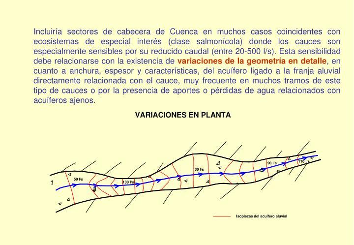 Incluiría sectores de cabecera de Cuenca en muchos casos coincidentes con ecosistemas de especial interés (clase salmonícola) donde los cauces son especialmente sensibles por su reducido caudal (entre 20-500 l/s). Esta sensibilidad debe relacionarse con la existencia de