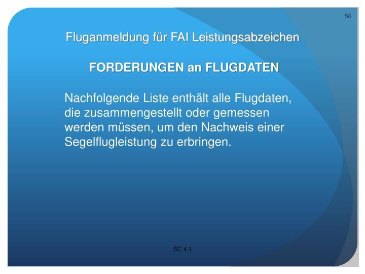 Fluganmeldung für FAI Leistungsabzeichen