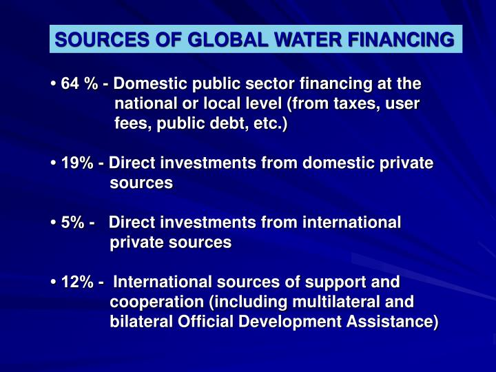 SOURCES OF GLOBAL WATER FINANCING