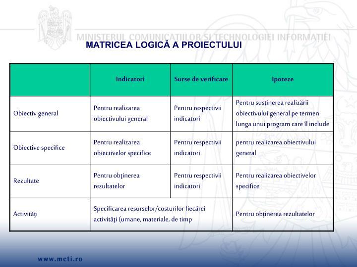 MATRICEA LOGICĂ A PROIECTULUI