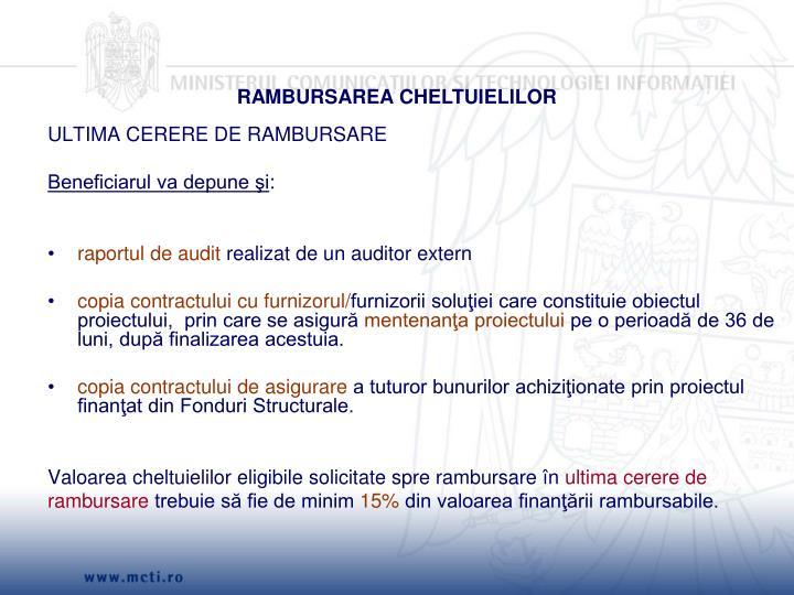 RAMBURSAREA CHELTUIELILOR