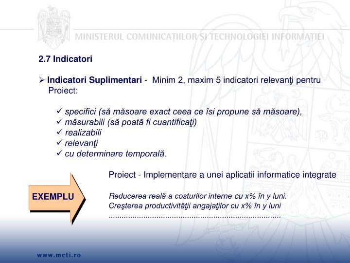 2.7 Indicatori